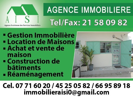 Aisi agence ivoirienne des services immobiliers for Agence immobiliere 45